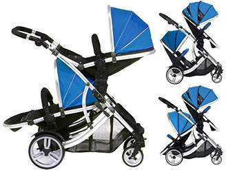 Duellette 21 BS Twin Buggy with Changing Bag and Accessories, Raincovers and 2 Footmuffs Teal Mist