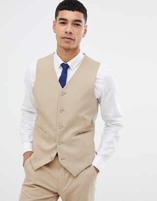 Asos DESIGN skinny suit vest in camel