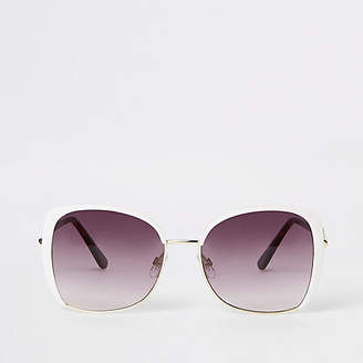 River Island Womens White RI glam over-sized sunglasses