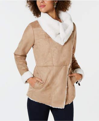 Style&Co. Style & Co Faux-Suede Faux-Fur Drape Coat