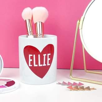 Nell Elsie & Personalised Heart Makeup Brush Holder