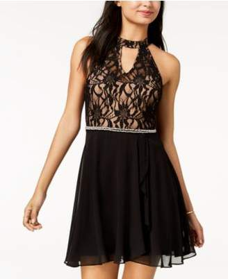 City Studios Juniors' Embellished Lace-Contrast Fit & Flare Dress