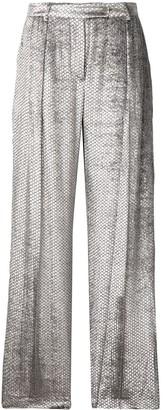Alberta Ferretti snake-effect velvet trousers