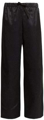 A.P.C. Lucy Wide Leg Dot Print Cotton Blend Trousers - Womens - Black