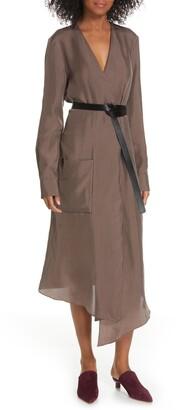 Tibi Walden Long Sleeve Faux Wrap Midi Dress
