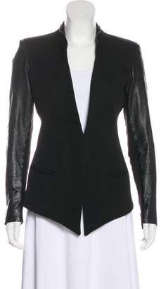 Helmut Lang Long Sleeve Leather-Accented Blazer