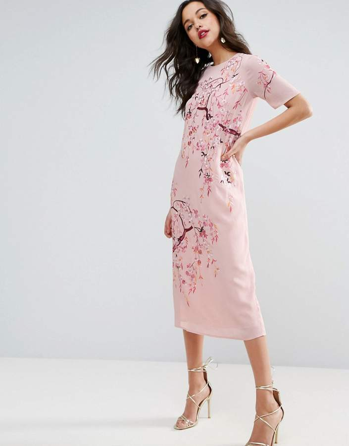 AsosASOS Embroidered Enchanted Midi Shift Dress