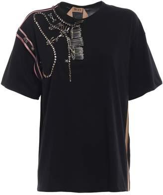 N°21 N.21 Beaded Pin-up T-shirt