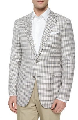 Ermenegildo Zegna Check Two-Button Wool Jacket, Cream/Gray/Tan $2,095 thestylecure.com