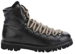 Bally Men's Chack Shearling-Trim Leather Hiking Boots - Black - Size 10