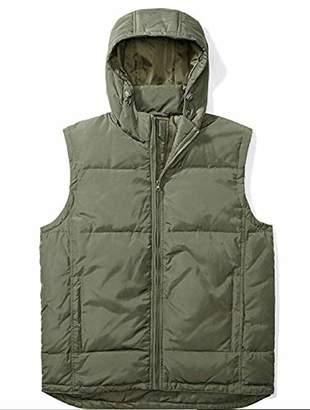 The Plus Project Men's Plus Size Down Vest with Detachable Hood 2X-Large Khaki