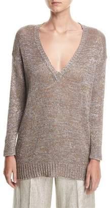 Etro Metallic V-Neck Open-Weave Beach Sweater Tunic