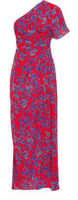 Carolina Herrera Leaf Print Asymmetrical Drape Dress