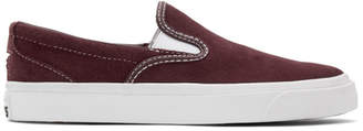 Converse Burgundy Suede One Star CC Slip-On Sneakers