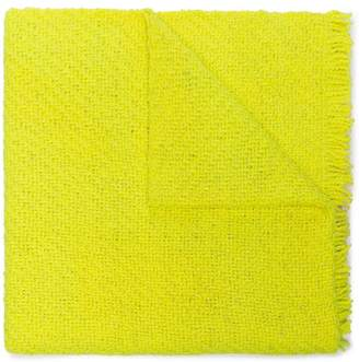 Aessai Yellow oversized frayed wool blanket scarf
