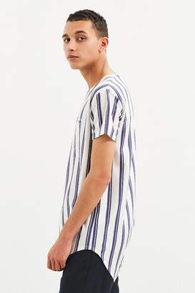 Urban Outfitters Vertical Stripe Curved Hem Tee