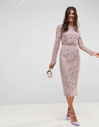 f473d6ffa6 Asos Design DESIGN lace long sleeve midi pencil dress