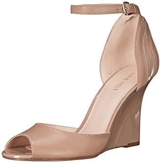 Nine West Women's Benice Leather Peep Toe Wedge