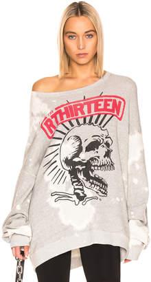 R 13 Exploited Punk Oversized Crewneck Sweater in Heather Grey & Bleach | FWRD