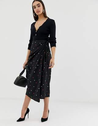 Fashion Union tiw waist midi skirt in multi spot