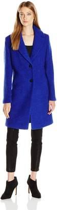 T Tahari Women's Tessa Boucle Wool Topper with Detachable Faux Fur Collar