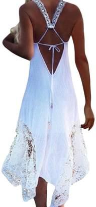 Beach Sexy Frieed Women Open Back Lace Patchwork Swing Summer Maxi Dress S