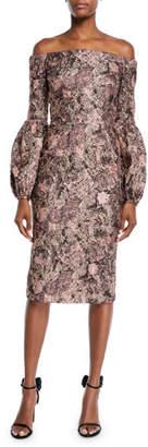 Theia Metallic Blouson-Sleeve Dress