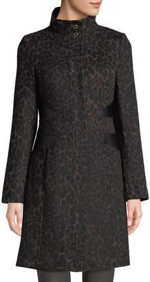 Via Spiga Leopard-Print Stand-Collar Coat