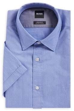HUGO BOSS Short-Sleeve Dotted Button-Down Shirt