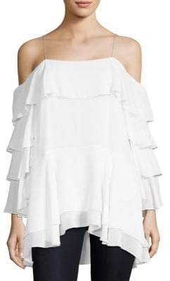 Alice + Olivia Lexia Cold-Shoulder Ruffle Top