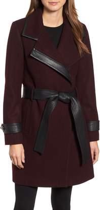 Badgley Mischka Faux Leather Trim Wool Blend Coat