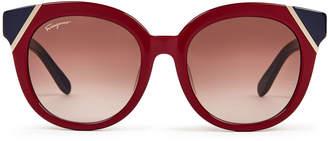 Salvatore Ferragamo SF836SA Burgundy & Blue Round Sunglasses