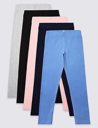 Marks and Spencer 5 Pack Easy Dressing Leggings (3-16 Years)