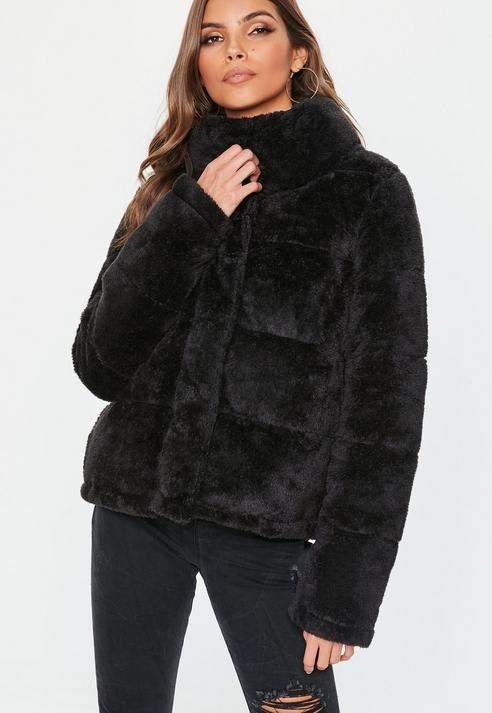 Black Faux fur puffer jacket, Black