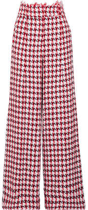 Oscar de la Renta Houndstooth Cotton-blend Tweed Wide-leg Pants - Red