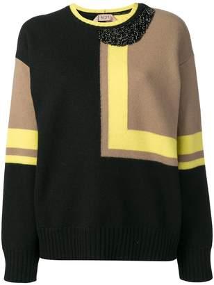 No.21 colour block jumper