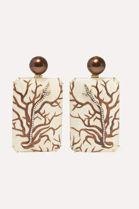 Silvia Furmanovich Marquetry 18-karat Gold, Wood, Diamond And Pearl Earrings - Beige