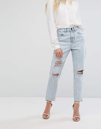 Asos DESIGN RECYCLED ORIGINAL MOM Jeans in Radleigh Light Wash with Rips and Busts