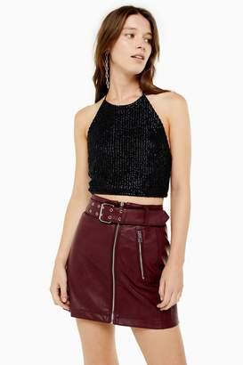 Topshop Womens Sequin Halter Top - Black