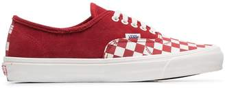 Vans Red Authentic check low-top suede sneakers