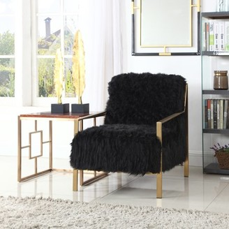 Chic Home Raisa Accent Side Chair Sleek Stylish Faux Fur Brushed Brass Finished Stainless Steel Frame, Modern Contemporary, Black