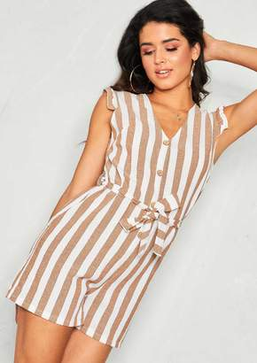2b3a5371ce3 Missy Empire Missyempire Renea Brown Stripe Belted Button Playsuit