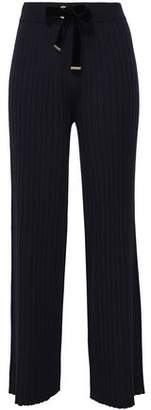 Mother of Pearl Iona Velvet-Trimmed Ribbed-Knit Wide-Leg Pants
