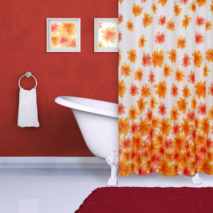 Bed Bath & Beyond Watercolor Flower Print Shower Curtain