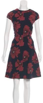 Lela Rose Jacquard Knee-Length Dress Navy Jacquard Knee-Length Dress