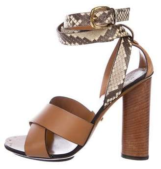 Gucci Embossed Leather Sandals