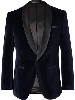 HUGO BOSS Midnight-Blue Hockley Slim-Fit Satin-Trimmed Cotton-Velvet Tuxedo Jacket
