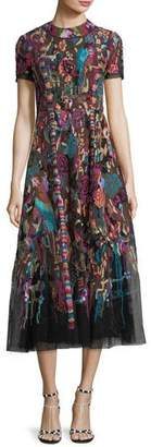 Valentino High-Neck Short-Sleeve Carpet-Embroidered Midi Dress