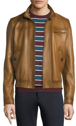 Prada Napa Leather Zip-Front Bomber Jacket