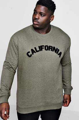 Big And Tall Slogan Badge Crew Neck Sweater hxphbTPiPD